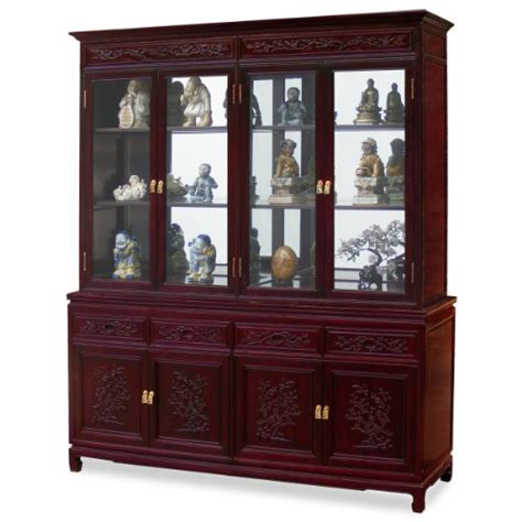 cheap china hutch cheap 72in flower and bird motif rosewood china cabinet