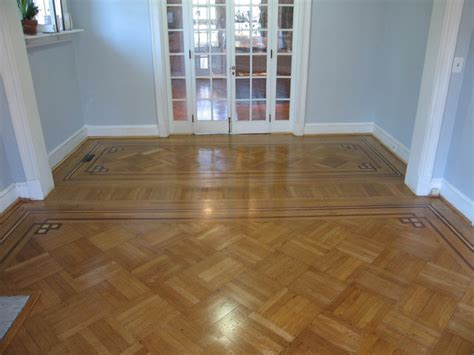 Historic Oak Parquet with Decorative Border   Traditional
