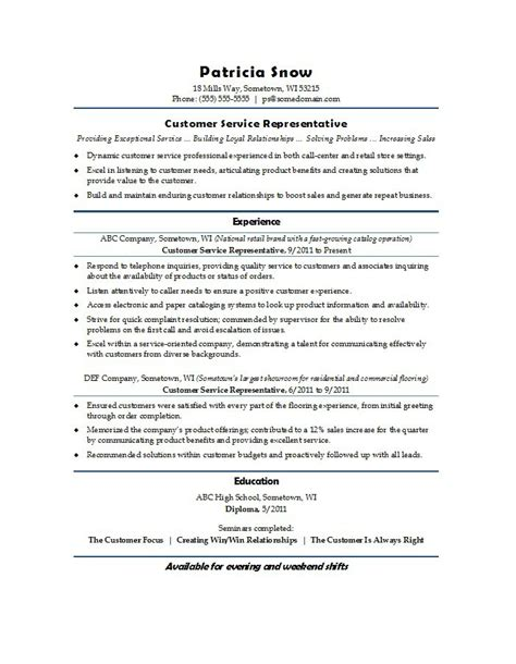 Experienced Customer Service Representative Resume by Customer Service Representative Resume Sle