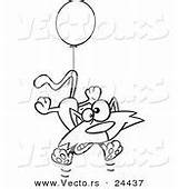 Cat Birthday Coloring Outlined Cartoon Floating Balloon Party Vector Kitties Leishman Kitty Designs sketch template