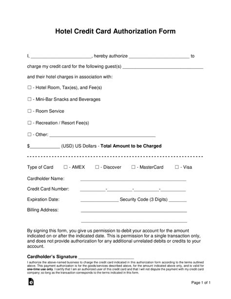 credit card authorization form template free hotel credit card authorization forms word pdf eforms free fillable forms