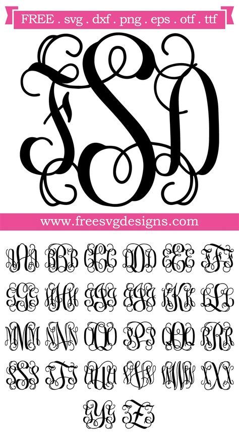My resource library is open to anyone and is free! Free SVG Files | SVG, PNG, DXF, EPS | Script Vine Monogram ...
