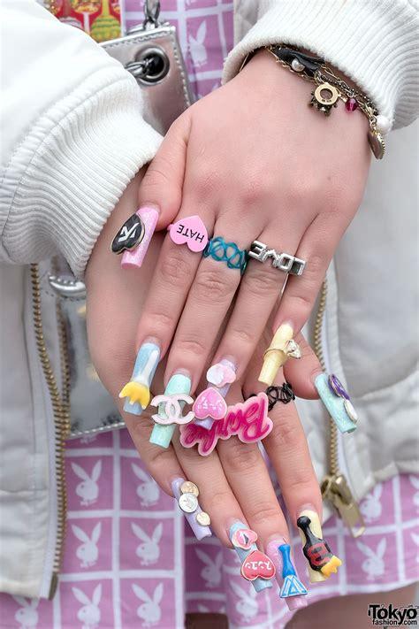pink twin tails barbie nails joyrich bubbles chanel