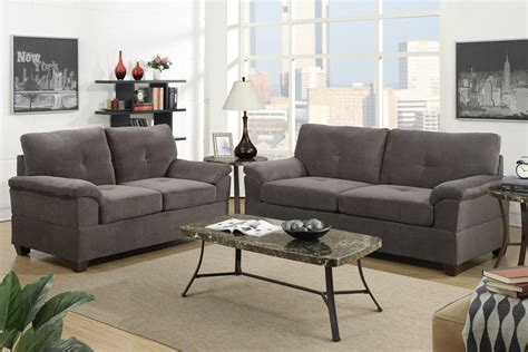 Fabric Sofa Sets For Sale by Charcoal Gray Waffle Suede Fabric Sofa And Loveseat Set