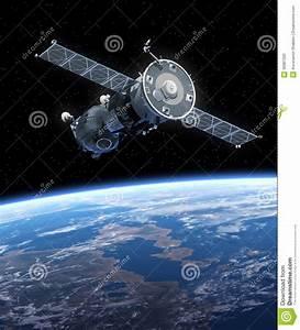 Spacecraft Soyuz Orbiting Earth. Stock Illustration ...