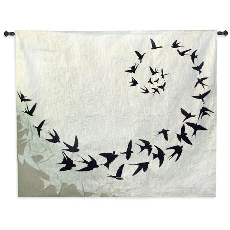 flight contemporary tapestry wall hanging modern design with birds h53 quot x w64 quot