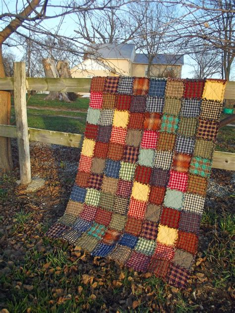 rustic quilt quilts patchwork rag country throw extra long handmade homemade patterns plaid primitive etsy