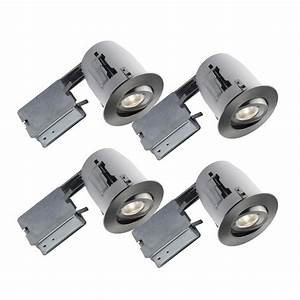 In brushed chrome recessed led lighting kit with par