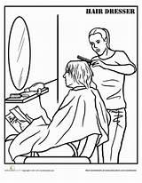 Coloring Hairdresser Worksheet Barber Sheet Career Workers Hair Pages Worksheets Community Helpers Kapper Hairdressers Template Tekening Education Cosmetology Zone Learning sketch template