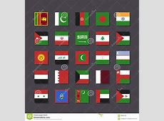 Asia Middle East Flag Icon Set Metro Style Stock Photo