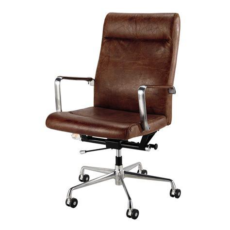 maison du monde chaise de bureau fauteuil de bureau à roulettes en cuir et métal marron