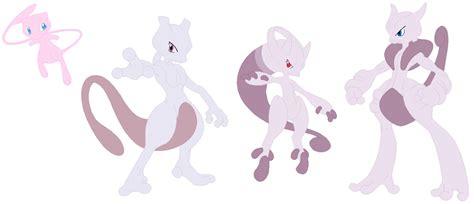 Mew, Mewtwo, Mega Mewtwo Y And Mega Mewtwo X By Selenaede