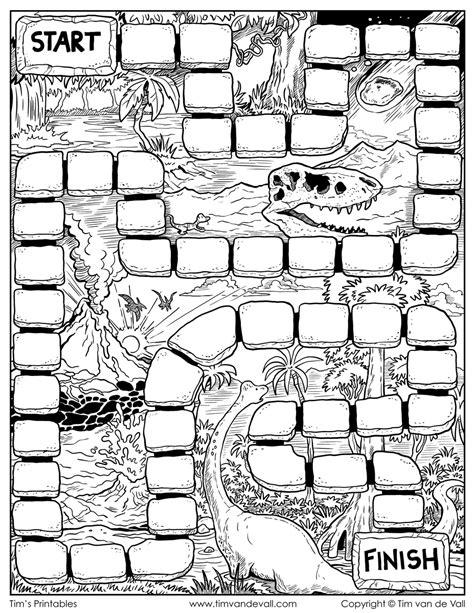 board game template black white dinosaur theme tim