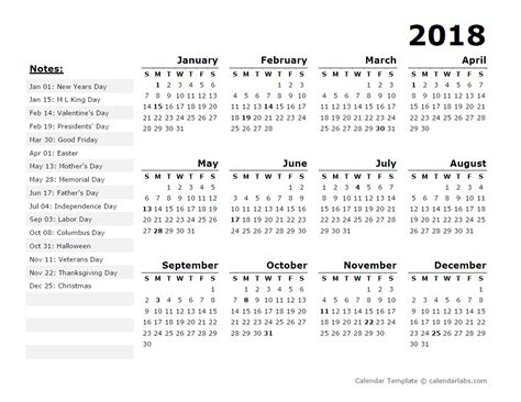 2015 Calendar Template With Holidays Printable Calendar 2018 2018 Year Calendar Template With Us Holidays Free
