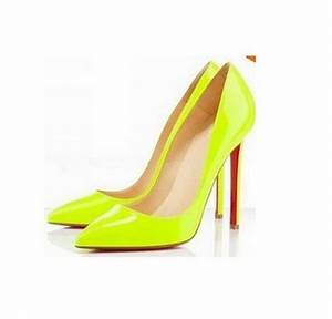 2014 Plus Size 35 40 Neon Yellow Thin Heel Pointed