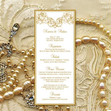 printable wedding menu template vienna  gold microsoft