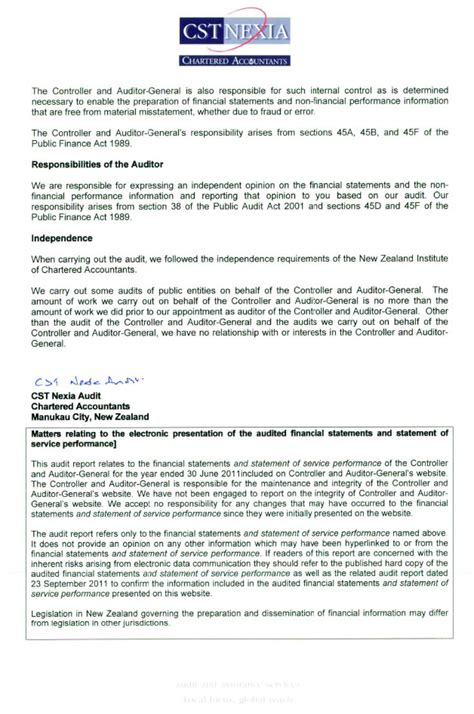 audit report audit report office of the auditor general new zealand