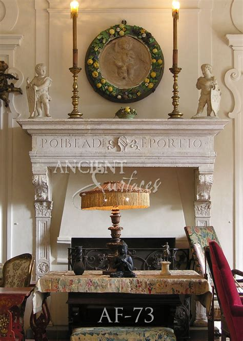page    unique collection  antique stone fireplace