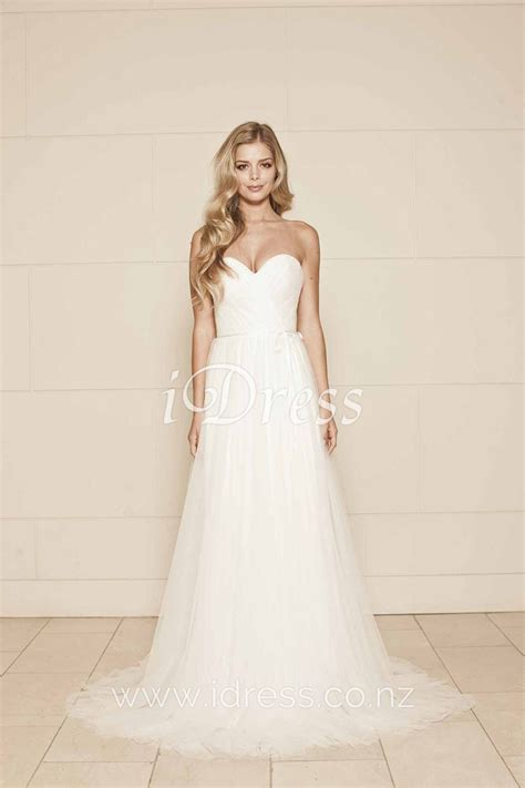 Strapless Sweetheart Romantic Simple Tulle A Line Wedding
