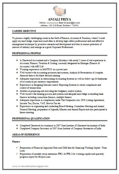 Excellent Resume Templates by Excellent Work Experience Chartered Accountant Resume