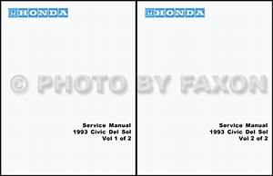 1993 Honda Civic Del Sol Repair Shop Manual Original