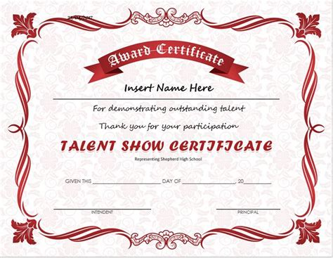 Show Certificate Template talent show award certificates for ms word professional