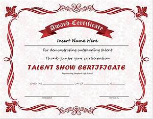 talent show award certificate download at http With talent show certificate template