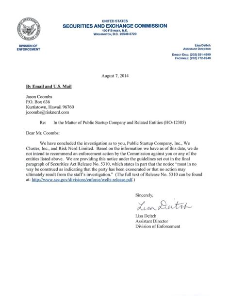 jobs act rule  formal investigation closing letter