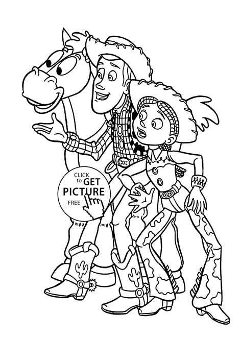 Cowboys from Toy story coloring pages for kids printable