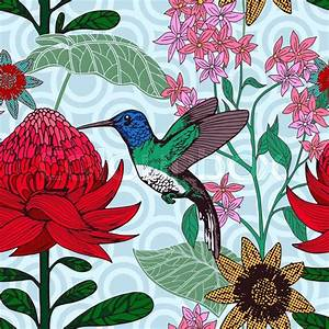 Vintage Style Tropical Bird And Flowers Background