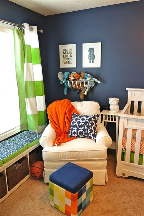 william s whimsical blue orange and green nursery boys