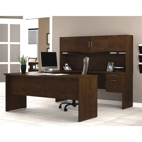 Bestar Harmony U Shape Wood Home Office Set Chocolate