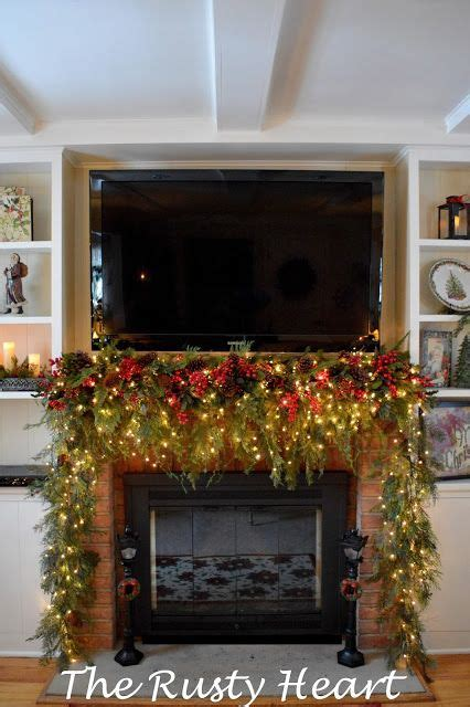 rusty heart designs christmas   family room mantel