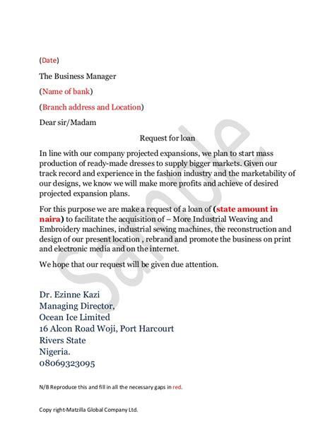 format of letter to bank manager for loan
