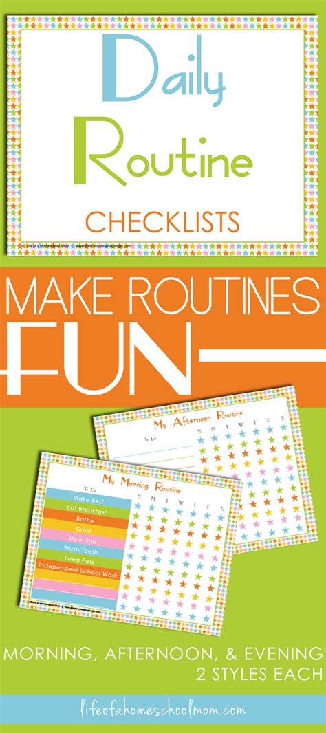 daily routines checklist printables life