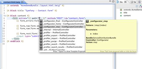 Eclipse Template With List Inside by Symfony2 Eclipse Plugin Features