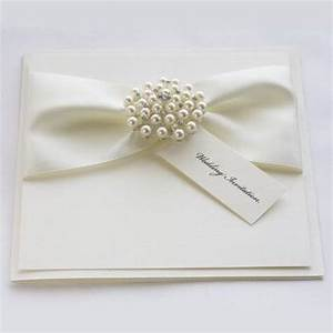 satin pearl wedding invitations with luxury satin ribbons With ribbon embellishments wedding invitations