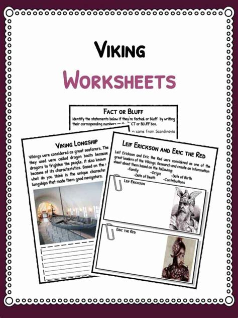 viking facts information worksheets  kids teaching