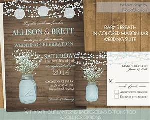 mason jar wedding invitations suite rustic country baby With rustic wedding invitations with baby s breath