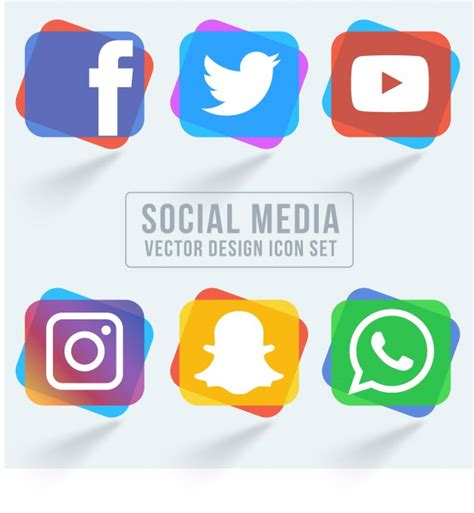 colorful icon pack colorful social media icon pack vector free