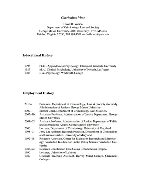 Poor Employment History by 10 Employment History Templates Word Pdf