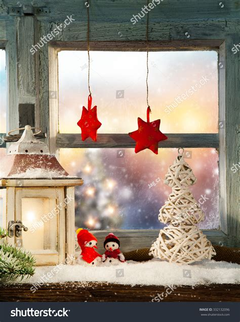 atmospheric christmas window sill decoration beautiful