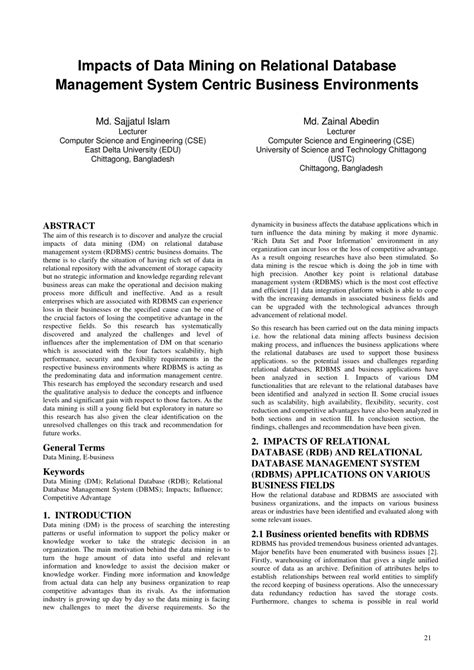 (PDF) Impacts of Data Mining on Relational Database