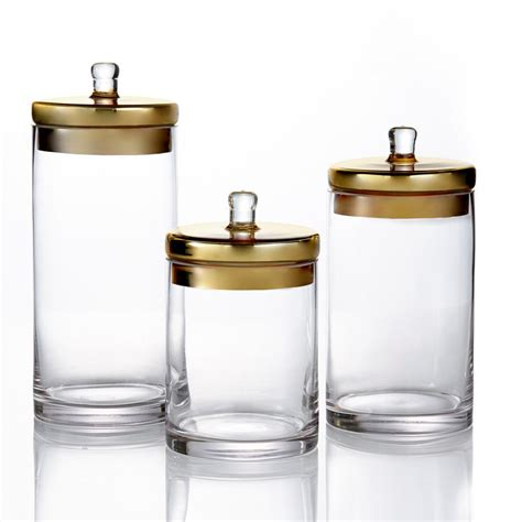 glass canisters for kitchen style setter 3 piece glass canisters with golden lids in small medium and large 203238 gb gd