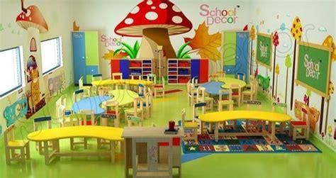 theme based school decor play school mushroom theme class