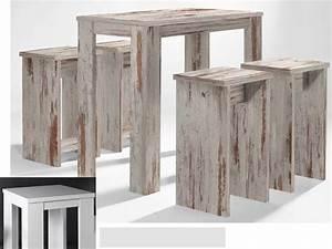 Barhocker Mit Tisch : bartisch set 5 teilig 1 tisch und 4 hocker wei matt sale ~ Watch28wear.com Haus und Dekorationen