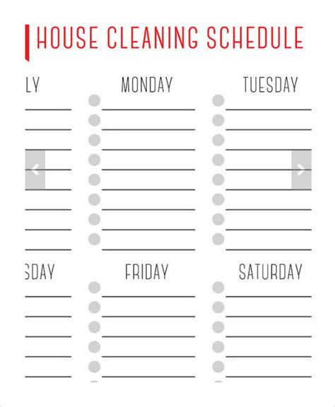 Cleaning Schedule Template Weekly Cleaning Schedule Template Wevo