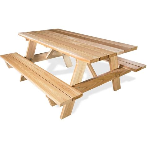 Picnic Table Bench Kit by 6 Cedar Wood Picnic Table With Attached Benches
