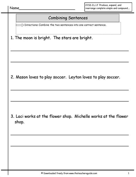 sentences worksheets from the s guide