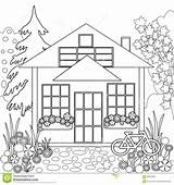 Coloring Trees Illustrazione Schwarzweiss Kleurend Bloemenillustratie Tuin Witte Zwart Florale Coloration Noire Blanche Jardin Livre Floreale Coloritura Giardino Libro Bianco sketch template